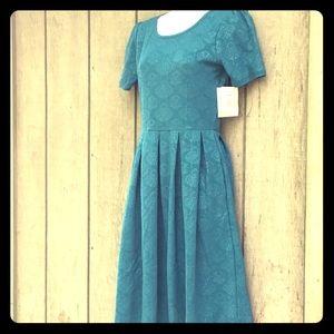 LulaRoe Amelia Dress Turquoise Teal Embossed NWT